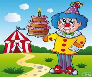 Puzle Palhaço com um bolo de aniversário