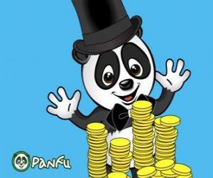Puzle Panda muito feliz vendo muitas moedas Panfu