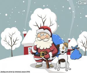 Puzle Papai Noel acompanhado por um cão