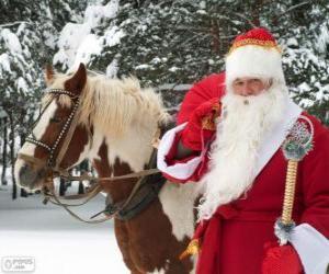 Puzle Papai Noel ao lado de um cavalo
