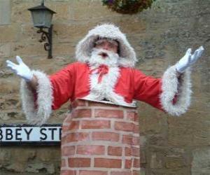 Puzle Papai Noel com problemas de passar pela chaminé