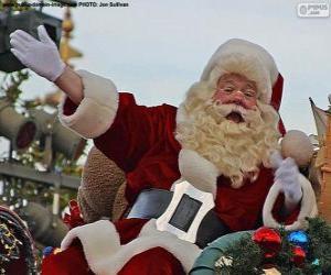 Puzle Papai Noel com um sorriso cumprimenta as crianças