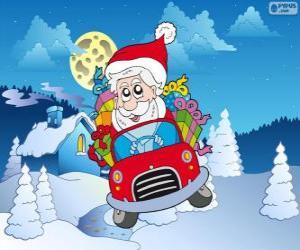 Puzle Papai Noel dirigindo um carro