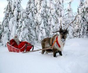 Puzle Papai Noel em seu trenó com renas na neve