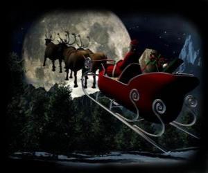 Puzle Papai Noel em seu trenó mágico puxado por renas voadoras na noite de Natal