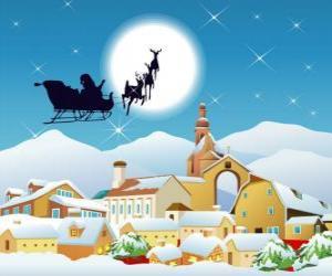 Puzle Papai Noel em seu trenó puxado por renas voando magia