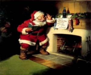 Puzle Papai Noel lendo uma nota penduradas da lareira