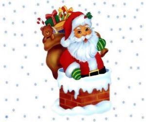 Puzle Papai Noel que entra pela chaminé carregado com muitos presentes