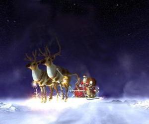 Puzle Papai Noel voando no seu trenó de Natal puxado por renas mágicas