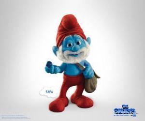 Puzle Papai Smurf é o mais velho eo líder da aldeia Smurf - Os Smurfs, filme -