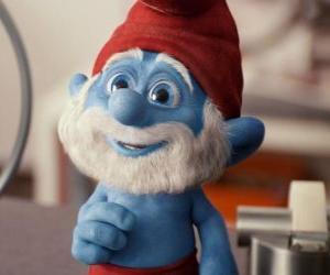 Puzle Papai Smurf querendo saber como retornar para a aldeia dos Smurfs