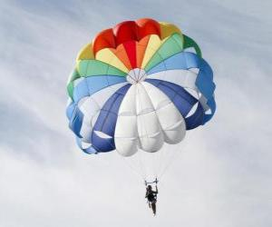 Puzle Paraquedista descendo através das nuvens em um pára-quedas depois de saltar de um avião
