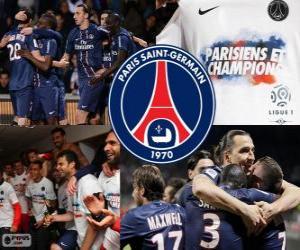 Puzle Paris Saint Germain, PSG, campeão Ligue 1 2012-2013, liga de futebol da França