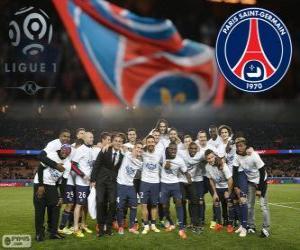 Puzle Paris Saint Germain, PSG, campeão da Ligue 1 2013-2014, liga de futebol da França