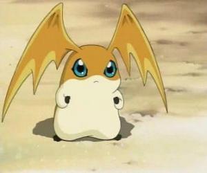 Puzle Patamon é o parceiro Digimon de TK, é um Digivolution de Potomon e Tokomon