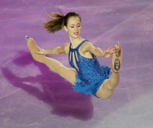 Puzle Patinadora em uma figura de patinação no gelo ou patinagem artística no gelo