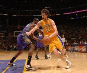 Puzle Pau Gasol jogando um jogo de basquete