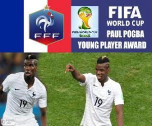 Puzle Paul Pogba, Prêmio Jogador Jovem. Copa do mundo de futebol Brasil 2014