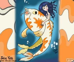 Puzle Peixe e sereia, um desenho de Julieta