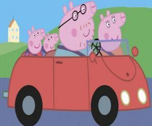Puzle Peppa Pig com sua família no carro: Papai Porco, Mamãe Porco e Porco George, seu irmão mais novo