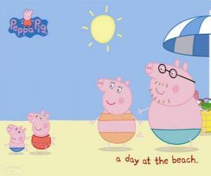 Puzle Peppa Pig com sua família na praia