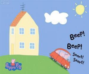 Puzle Peppa Pig com sua família no carro