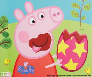 Puzle Peppa Pig comendo um ovo