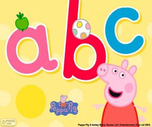 Puzle Peppa Pig e as letras abc