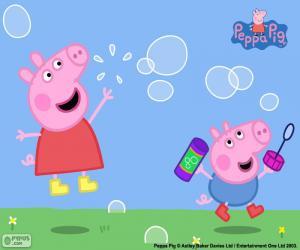 Puzle Peppa Pig e bolhas de sabão