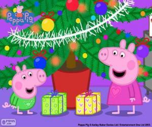 Puzle Peppa Pig e George no Natal