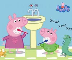 Puzle Peppa Pig e George Pig lavar os dentes
