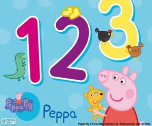 Puzle Peppa Pig e números