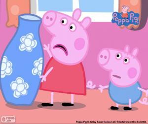 Puzle Peppa Pig e o vaso azul