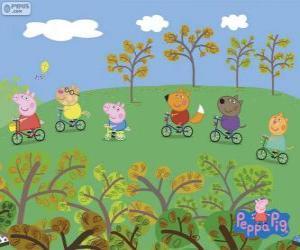Puzle Peppa Pig e seus amigos de bicicleta