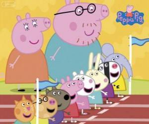 Puzle Peppa Pig e seus amigos preparados para uma carreira