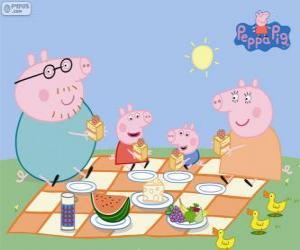 Puzle Peppa Pig e sua família fazem um piquenique