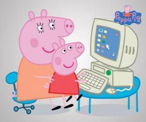 Puzle Peppa Pig e sua mãe no computador