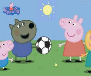 Puzle Peppa Pig jogando a bola com os amigos