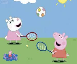 Puzle Peppa Pig jogando tênis