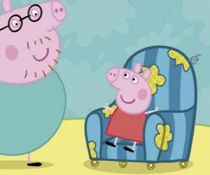 Puzle Peppa Pig sentado na velha cadeira de seu pai
