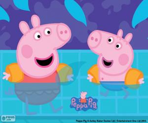 Puzle Peppa Pig vai para natação