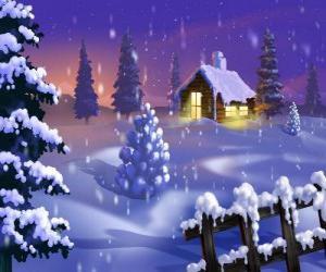 Puzle Pequena casa na neve