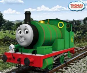 Puzle Percy, o mais jovem locomotiva, verde e com o número 6. Percy é o melhor amigo de Thomas
