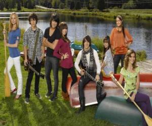 Puzle Personagens em Camp Rock Tess, Nate, Shane, Mitchie, Jason, Ella, Peggy e Caitlyn