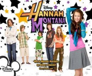 "Puzle Personagens principais de Hannah Montana, Miley Ray Stewart, Lillian ""Lilly"" Truscott Oliver Oken, Rod Stewart Jackson, Robby Ray Stewart e Rico Suave"