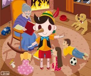 Puzle Pinóquio. A marionete de madeira que se torna uma criança