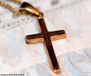 Puzle Pingente Cruz de ouro