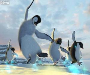 Puzle Pinguins dançando nos filmes de Happy Feet
