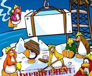 Puzle Pinguins de trabalho na construção no Club Penguin
