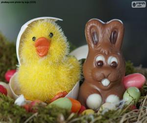 Puzle Pintinho e coelhinho da Páscoa